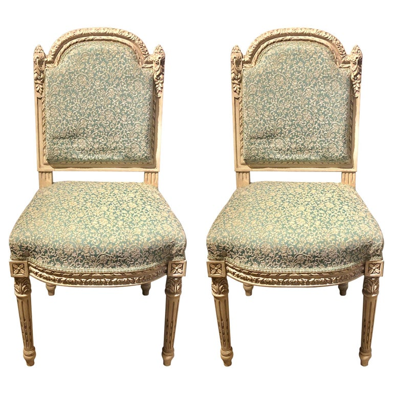 12Paint Decorated Louis XVI Style Side / Dining Chairs, Finely Carved For Sale