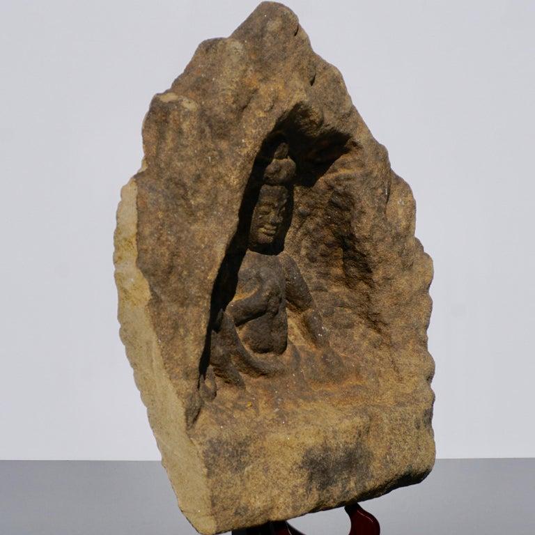 Hand-Carved 12th Century Khmer Sandstone Bhudda Shrine Schist  For Sale