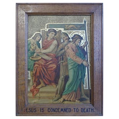 13 Antique Stations Of The Cross, Gilt Lithographs on Zinc Panels in Oak Frames
