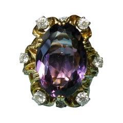 13 Carat Amethyst Diamond Cocktail Ring 18 Karat Gold Retro Hollywood Regency