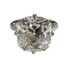 13 Carat Antique Cut Cushion Diamond Ring in Platinum GIA