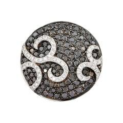 1.3 Carat Black & White Diamond Ring in 14 Karat White Gold