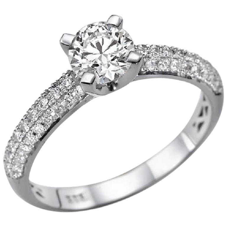 1.3 Carat 14 Karat White Gold Round Diamond Engagement Ring