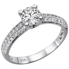 1.3 Carat 14 Karat White Gold Round Diamond Engagement Ring