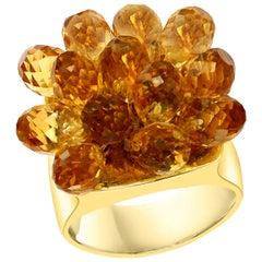 13 Carat Citrine Briolette Ring in 14 Karat Yellow Gold, Estate