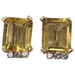 13 Carat Citrine Diamond Earrings Gold Art Deco Style Hollywood Regency