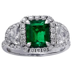 1.3 Carat Colombian Emerald and Diamond Engagement Ring