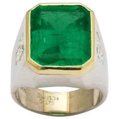 13 Carat Colombian Emerald Men's Ring