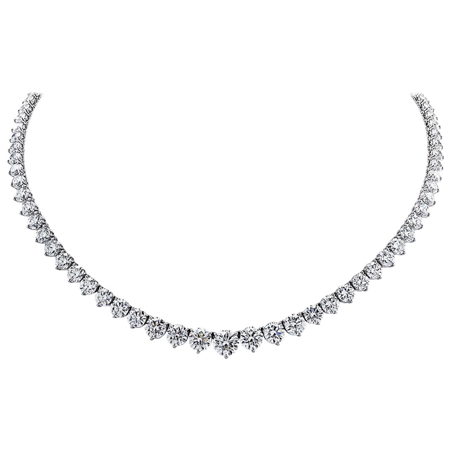 10 Carat Diamond Tennis Riviera Necklace 18 Karat F Color VS Clarity