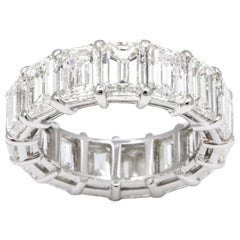 13 Carat Emerald Cut Diamond Eternity Band