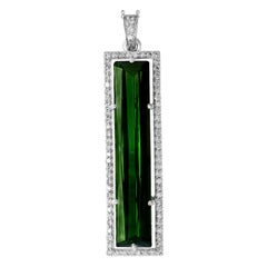 13 Carat Green Tourmaline and 1.6 Carat Diamond Pendant / Necklace 18 Karat Gold
