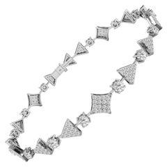 1.3 Carat GVS Diamond Squares and Triangles Tennis Bracelet 18 Karat White Gold