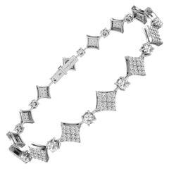 1.3 Carat GVS Diamond Squares Tennis Bracelet in 18 Karat White Gold