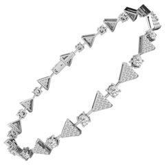 1.3 Carat GVS Diamond Triangles Tennis Bracelet in 18 Karat White Gold