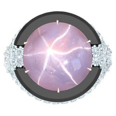 13 Carat Lavender Star Sapphire and Diamond Onyx Ring