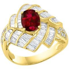 1.3 Carat Natural Oval Burma Ruby and 1.3 Carat Diamond 18 Karat Gold Ring
