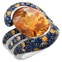 13 Carat Oval Citrine, Diamond and Sapphire Cocktail Ring