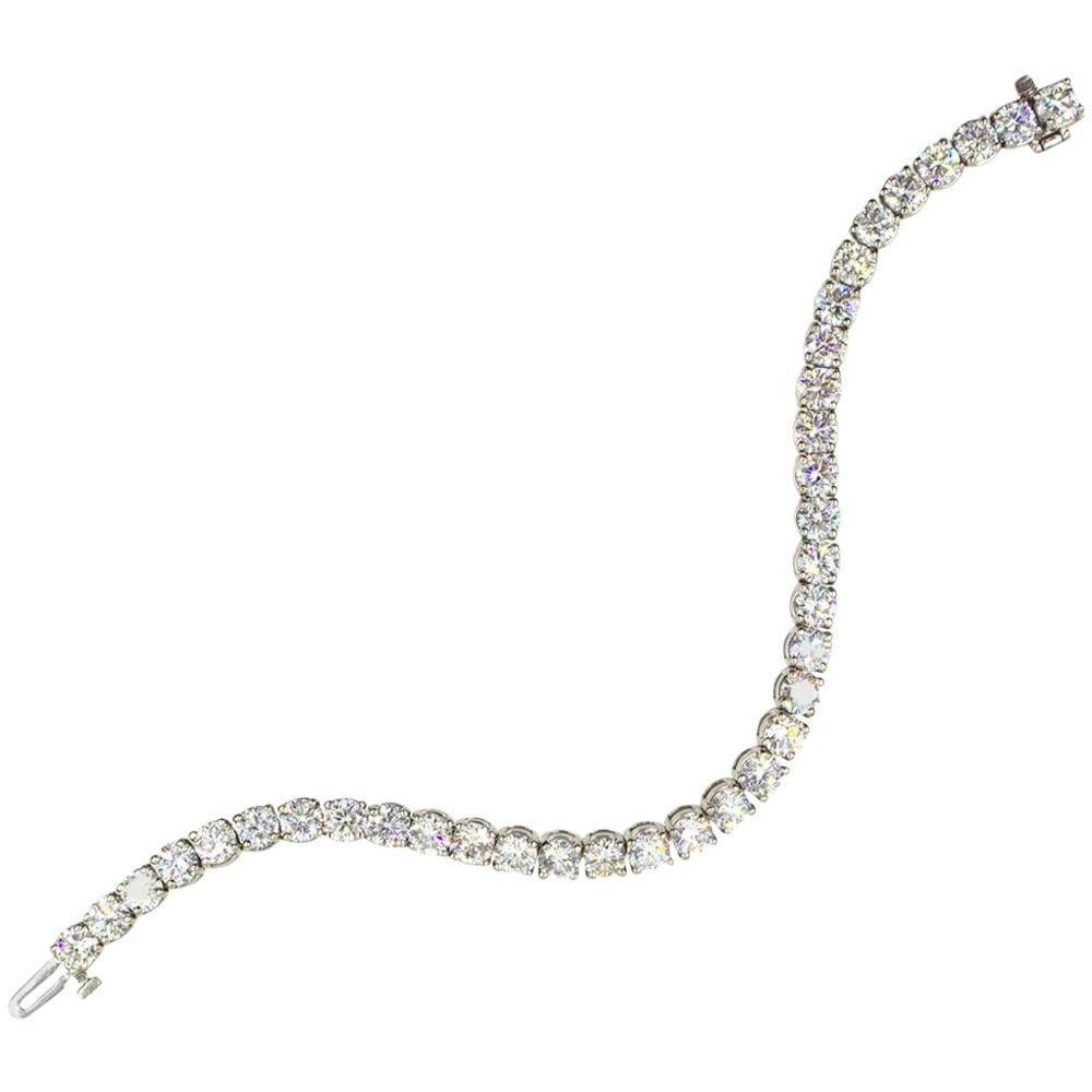 13 Carat Round Brilliant Cut Diamond Tennis Bracelet 14 Karat White Gold
