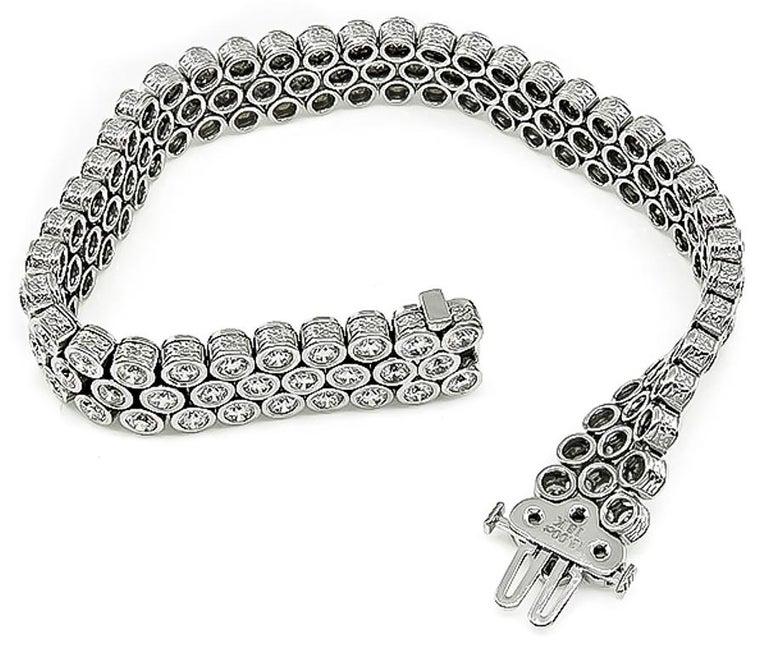 Women's or Men's 13 Carat Round Cut Diamond Gold Bracelet For Sale