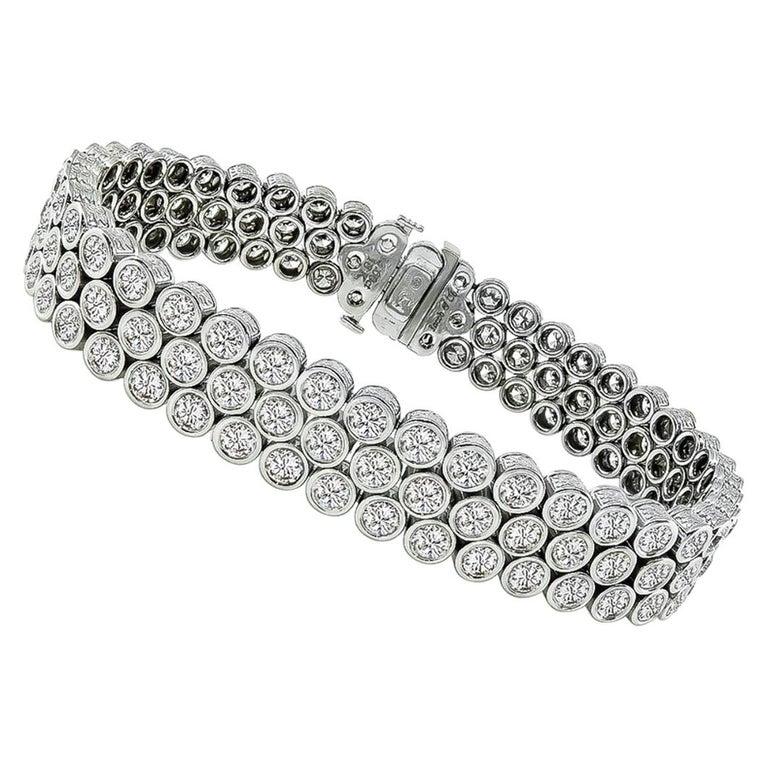 13 Carat Round Cut Diamond Gold Bracelet For Sale