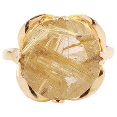 13 Carat Round Rutilated Quartz 18 Carat Yellow Gold Ring