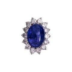 13 Carat Tanzanite and 3.4 Carat Total Diamond Ring