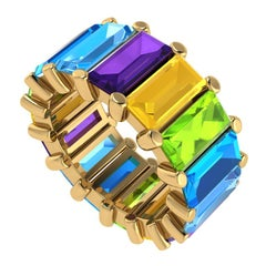 13 Carat Total Approximate Colored Gemstone Baguette Eternity Band, Ben Dannie