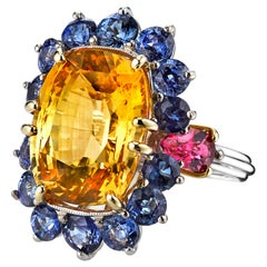 GIA Certified 13.73 Carat Yellow Sapphire Platinum Cluster Ring