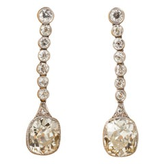 13 Carat Diamonds French Art Deco Earrings
