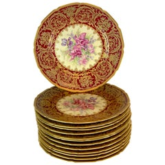 13 Exquisite Rosenthal Garnet Gilt Orchid & Floral Service Plates, Special Order