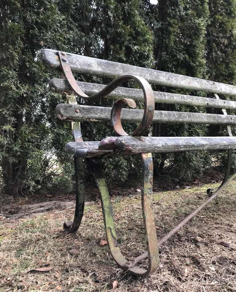 Long English 19th Century Wood and Wrought Iron Railway Station Bench For Sale 5