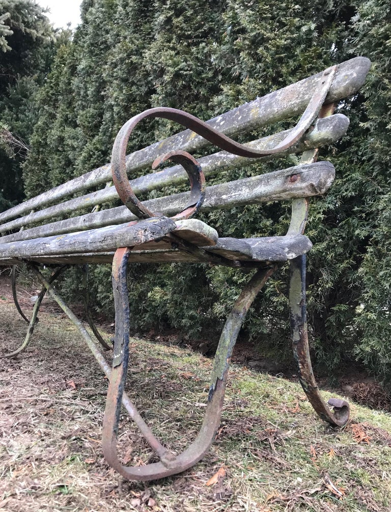 Long English 19th Century Wood and Wrought Iron Railway Station Bench For Sale 6