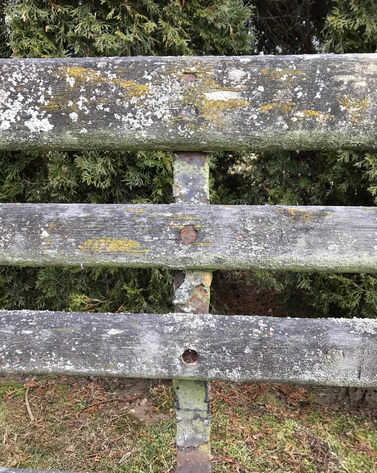 Long English 19th Century Wood and Wrought Iron Railway Station Bench For Sale 11