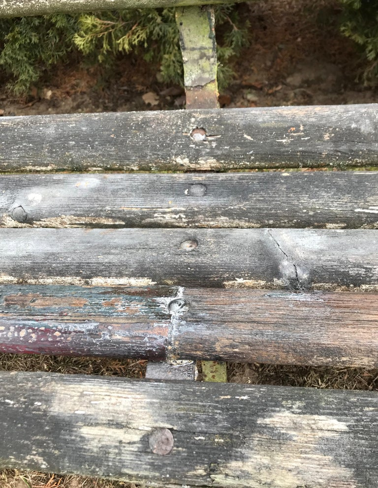 Long English 19th Century Wood and Wrought Iron Railway Station Bench For Sale 12
