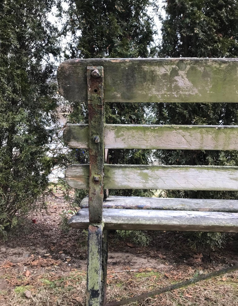 Long English 19th Century Wood and Wrought Iron Railway Station Bench For Sale 14
