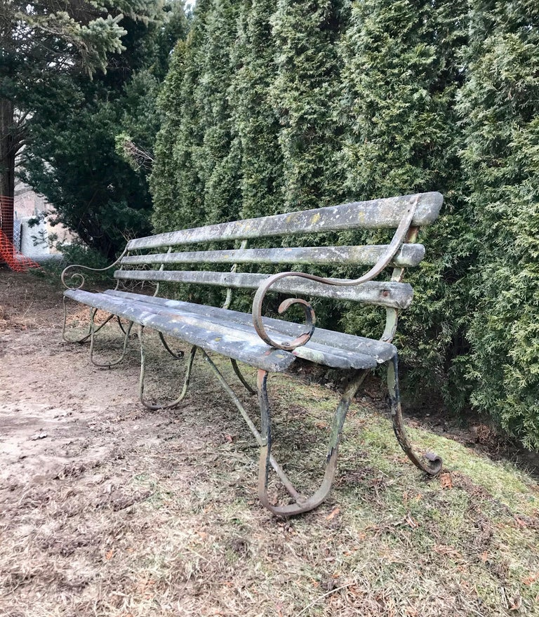 This amazing railway station bench originated from the Barcombe Mills train station in Lewes, East Sussex, which was opened in 1858 and closed in 1965. Made of oak and probably larch, the bench features its original wrought iron frame and most of
