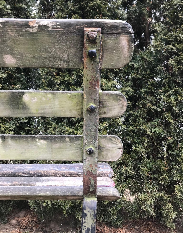 Long English 19th Century Wood and Wrought Iron Railway Station Bench For Sale 15