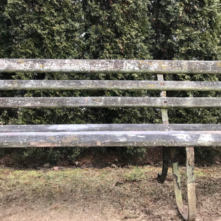 Long English 19th Century Wood and Wrought Iron Railway Station Bench For Sale 2