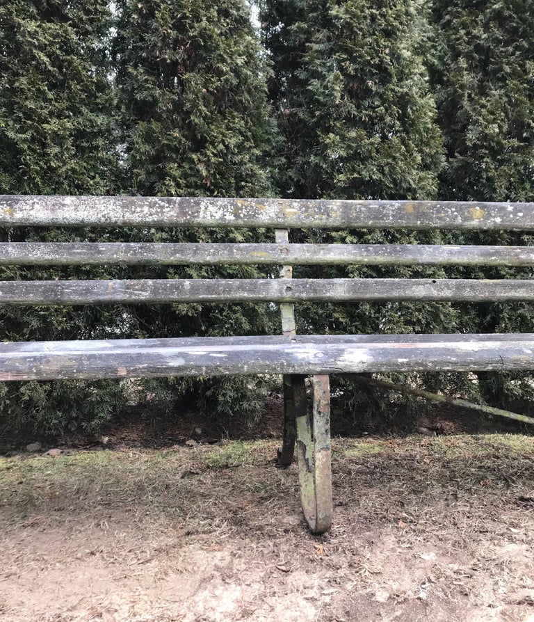 Long English 19th Century Wood and Wrought Iron Railway Station Bench For Sale 3