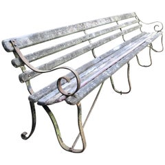 Long English 19th Century Wood and Wrought Iron Railway Station Bench