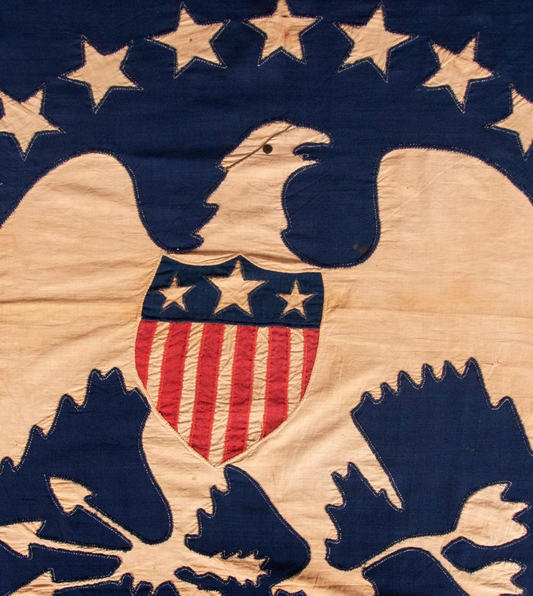 American 13 Hand-Sewn, Single-Appliqued Stars Above a Federal Eagle, NY, ca 1870-1880 For Sale