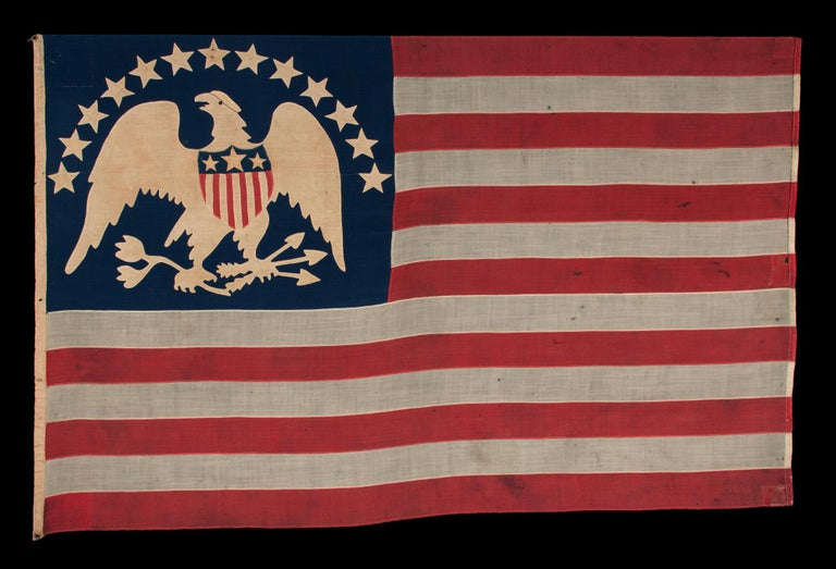 19th Century 13 Hand-Sewn, Single-Appliqued Stars Above a Federal Eagle, NY, ca 1870-1880 For Sale