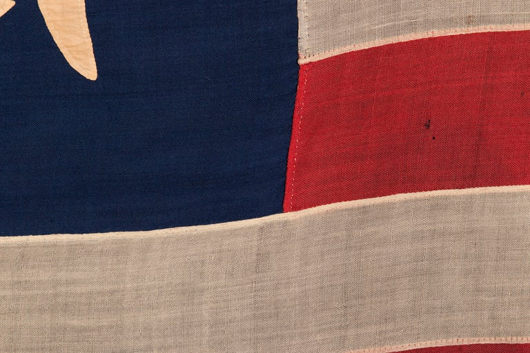 Wool 13 Hand-Sewn, Single-Appliqued Stars Above a Federal Eagle, NY, ca 1870-1880 For Sale