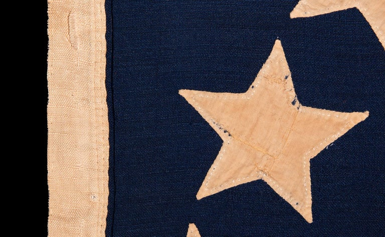 13 Hand-Sewn, Single-Appliqued Stars Above a Federal Eagle, NY, ca 1870-1880 For Sale 1