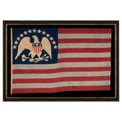 13 Hand-Sewn, Single-Appliqued Stars Above a Federal Eagle, NY, ca 1870-1880