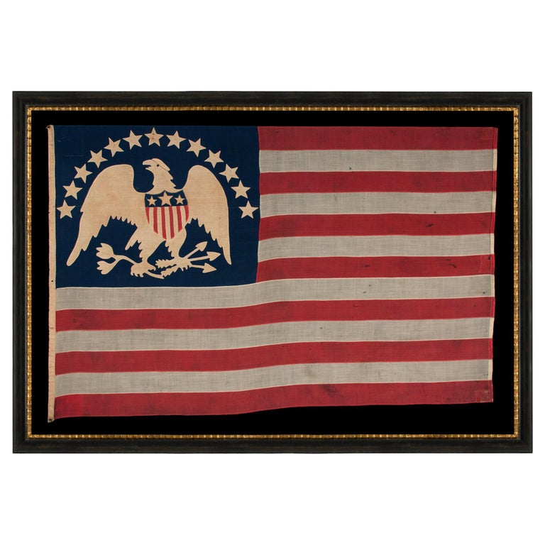 13 Hand-Sewn, Single-Appliqued Stars Above a Federal Eagle, NY, ca 1870-1880 For Sale