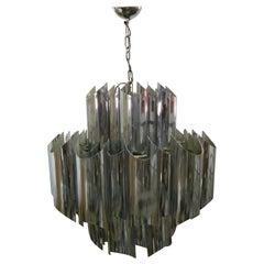 13 Lights Chromed Steel Chandelier Attribution Esperia