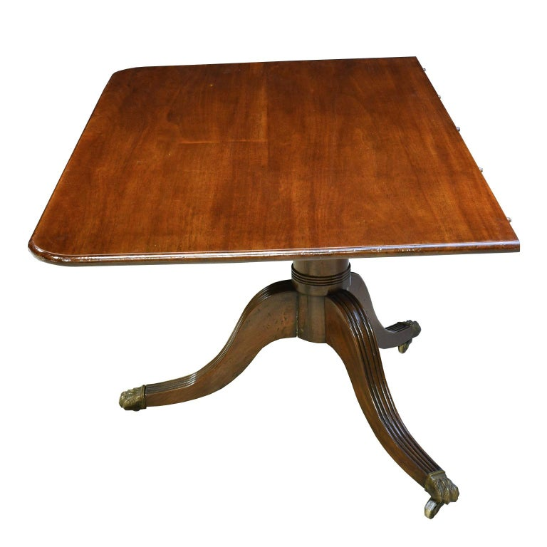 Long Dining Tables For Sale: 13' Long Sheraton-Style Mahogany Dining Table, 3 Pedestals