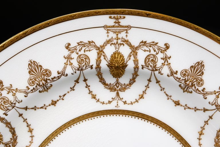 Adam Style 13 Minton for Tiffany Adam-Style Gold Encrusted Plates For Sale