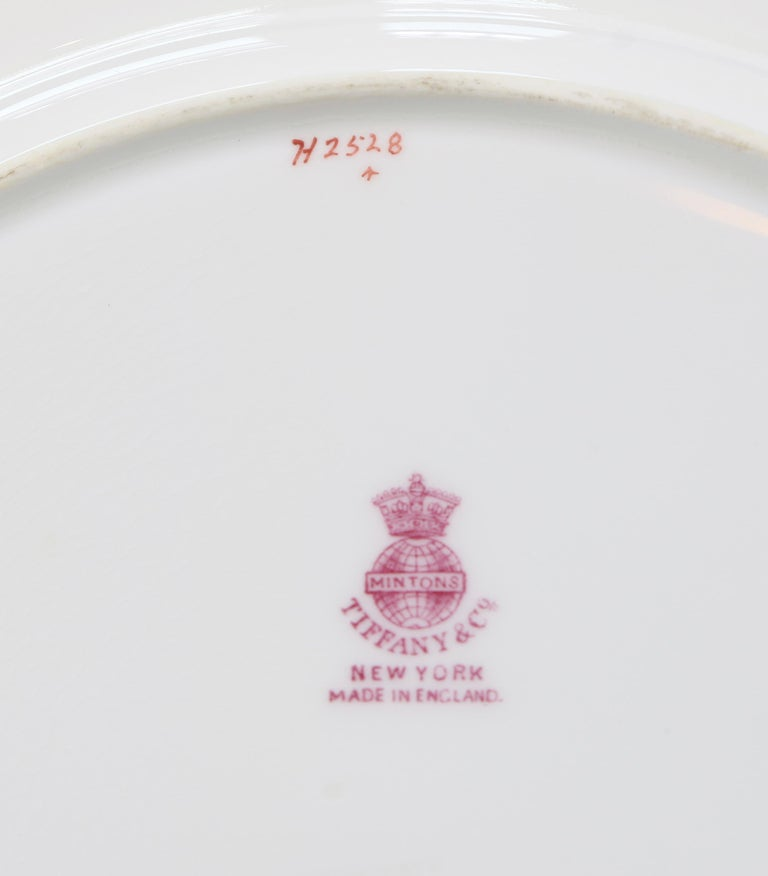 English 13 Minton for Tiffany Adam-Style Gold Encrusted Plates For Sale